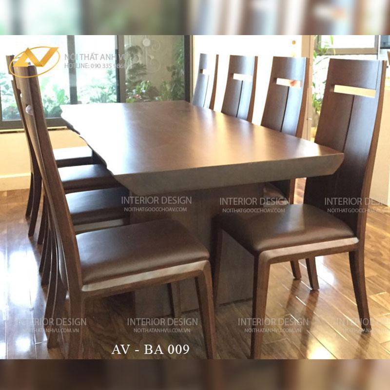 Bộ bàn ghế ăn gỗ óc chó cao cấp AV-BA 009 - Nội thất Anh Vũ
