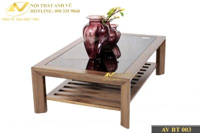 Bàn trà gỗ mặt kính gỗ óc chó đẹp 003 - Nội thất Anh Vũ