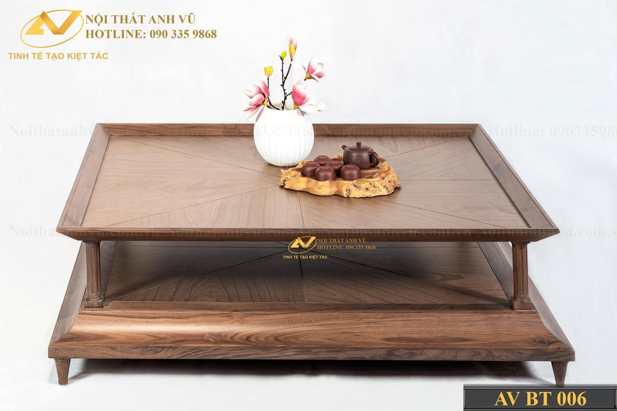 Bàn trà vuông gỗ óc chó đẹp 006 - Nội thất Anh Vũ