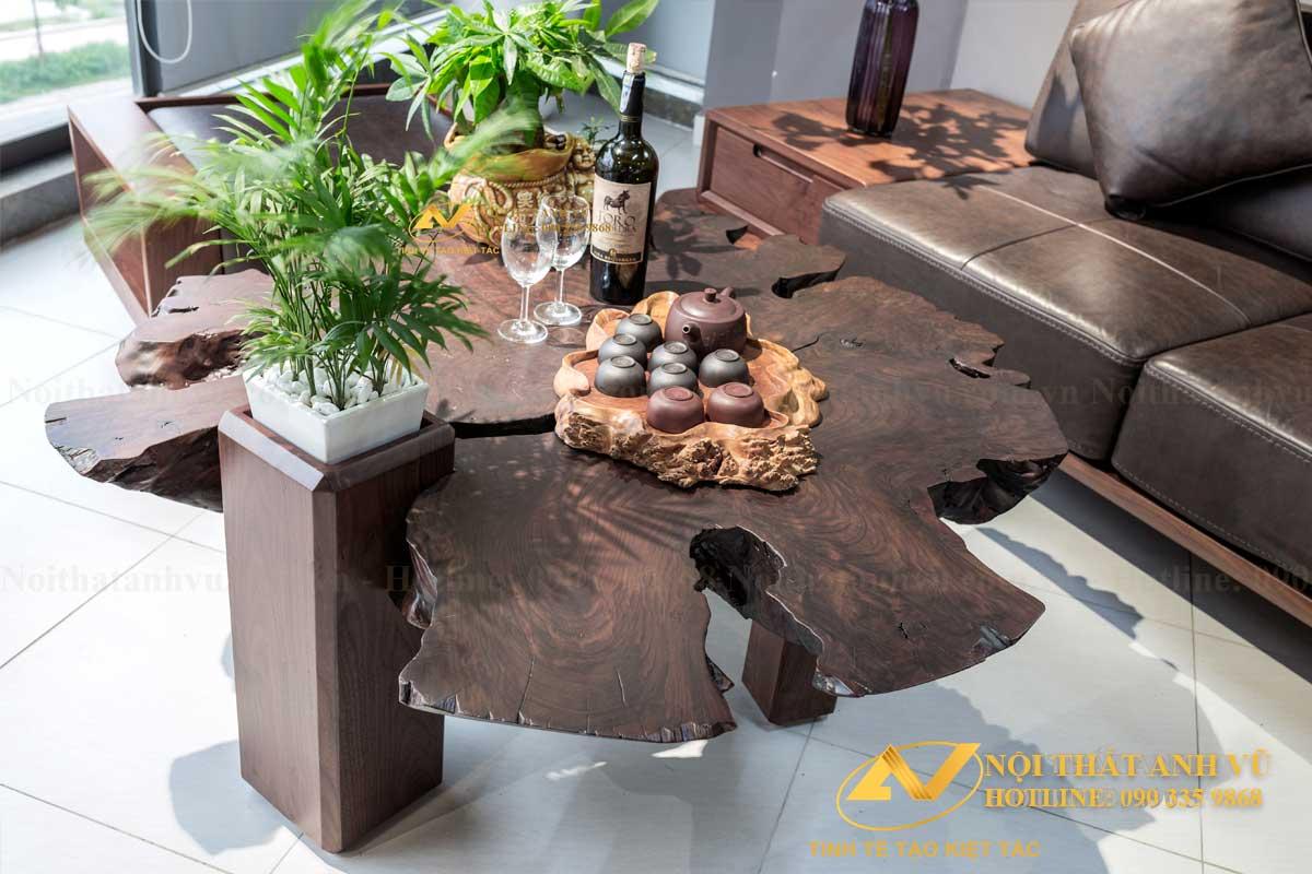 Bàn trà gốc cây gỗ óc chó đẹp 009 - Nội thất Anh Vũ