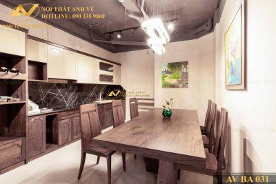 Mẫu bàn ăn đẹp gỗ óc chó AV-BA 031 - Nội thất Anh Vũ