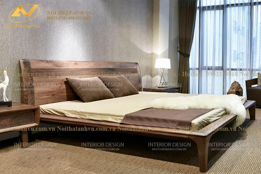 Giường gỗ đơn óc chó cao cấp 005 - Nội thất Anh Vũ