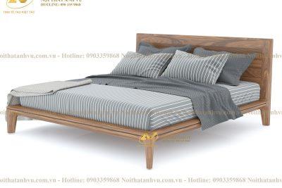 Giường gỗ hiện đại óc chó cao cấp 008 - Nội thất Anh Vũ
