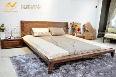Giường ngủ gỗ óc chó cao cấp 008 - Nội thất Anh Vũ
