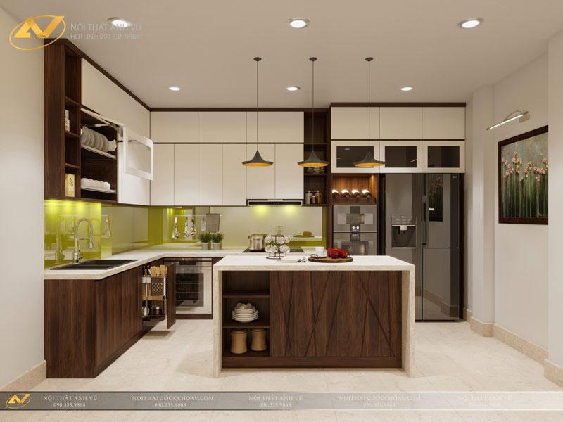 thiết kế nội thất bếp đẹp sang trọng biệt thự mr Trần Anh 1