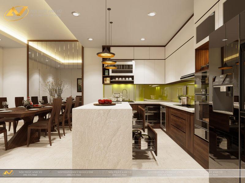thiết kế nội thất bếp đẹp tinh tế biệt thự mr Trần Anh