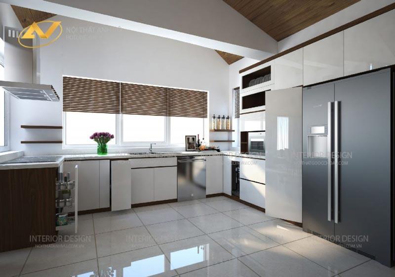 thiết kế nội thất biệt thự phòng bếp mrs Linh Hưng Yên