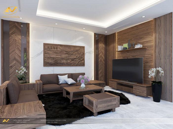 thiết kế nội thất biệt thự phòng khách lôi cuốn mr Thiệp Long Biên Hà Nội