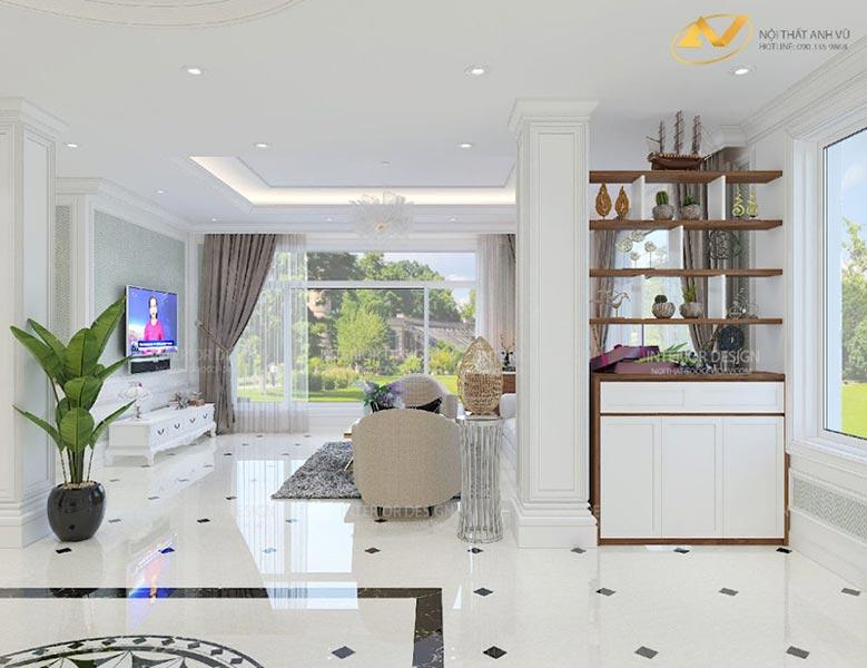thiết kế nội thất biệt thự phòng khách với tủ trang trí đa năng