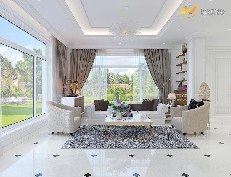 thiết kế nội thất biệt thự phòng khách mrs Linh Hưng Yên