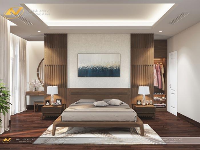 thiết kế nội thất biệt thự phòng ngủ vợ chông Mr Thiệp Long Biên Hà Nội