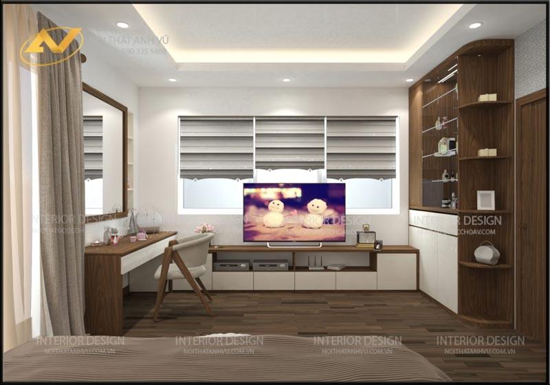 thiết kế phòng ngủ có bàn trang điểm tủ quần áo mrs Linh Hưng Yên