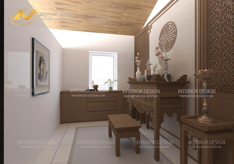 thiết kế nội thất phòng thờ trang nghiêm mrs Linh Hưng Yên