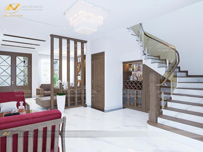 thiết kế nội thất biệt thự tại Long Biên cầu thang nhà Mr Hà