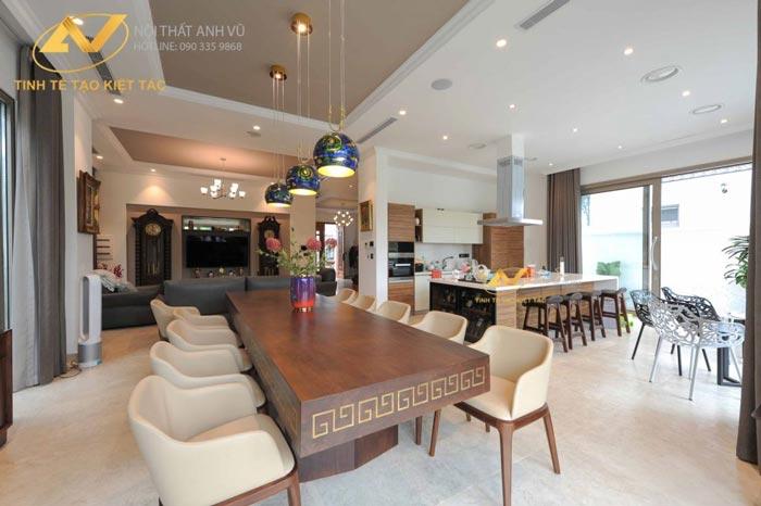 thiết kế nội thất biệt thự tại Long Biên Hà Nội phòng bếp Mr Minh 1