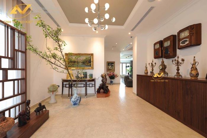 thiết kế nội thất phòng khách biệt thự Mr Minh tại Long Biên