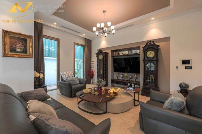 thiết kế nội thất biệt thự tại Long Biên phòng khách sang trọng Mr Minh