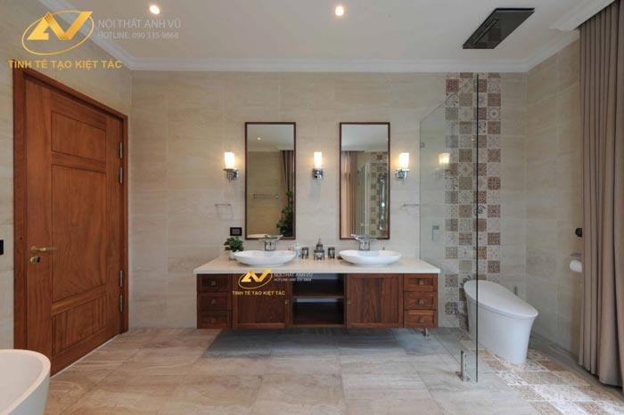 thiết kế nội thất biệt thự tại Long Biên Hà Nội phòng tắm Mr Minh 1