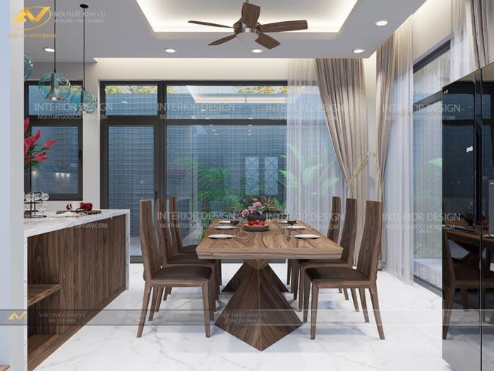 thiết kế nội thất biệt thự tại Long Biên phòng bếp ấm cúng mr Hà