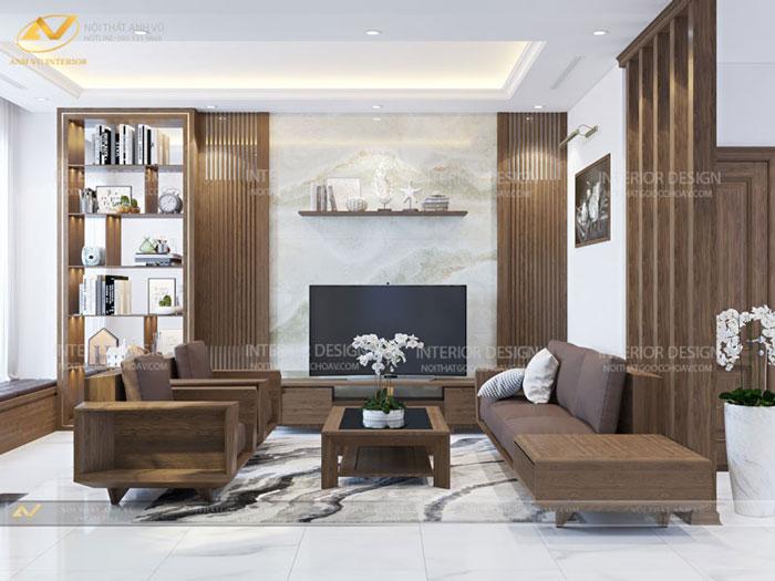 thiết kế nội thất biệt thự tại Long Biên Hà Nội phòng khách mr Hà