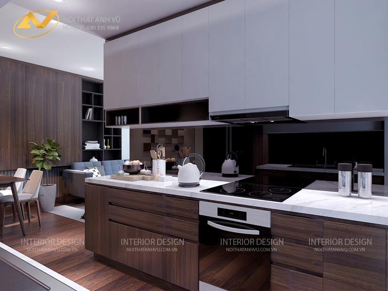 thiết kế nội thất chung cư phòng bếp đẹp sang trọng mr Đạt Kim Giang Hà Nội