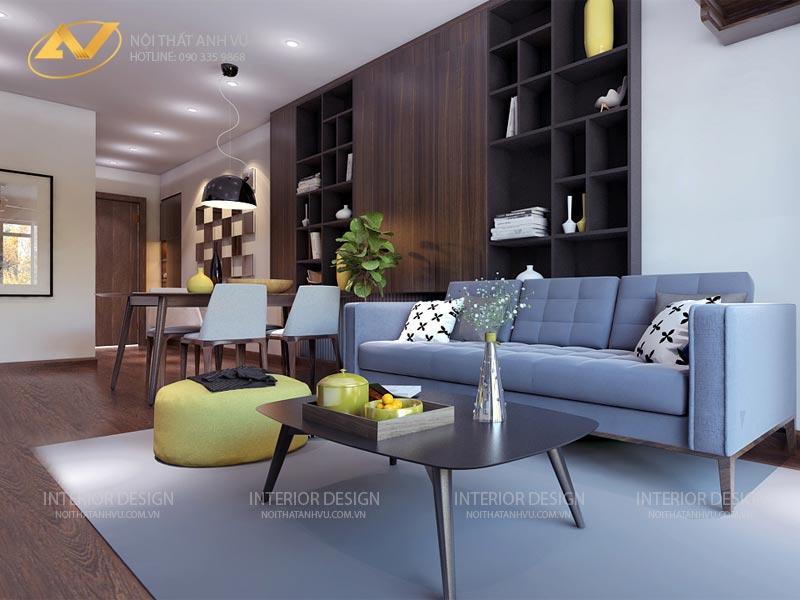 thiết kế nội thất chung cư phòng khách đẹp mr Đạt Kim Giang Hà Nội