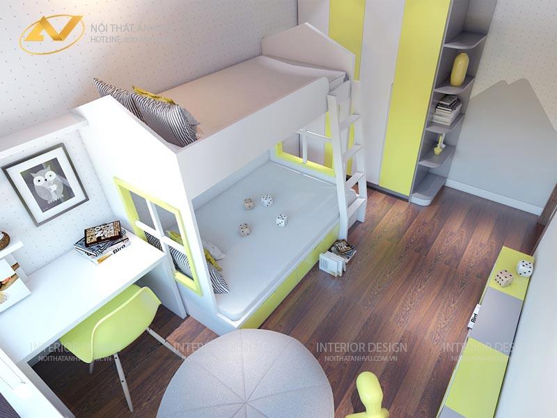thiết kế nội thất chung cư phòng ngủ trẻ em đẹp hồn nhiên mr Đạt Kim Giang Hà Nội