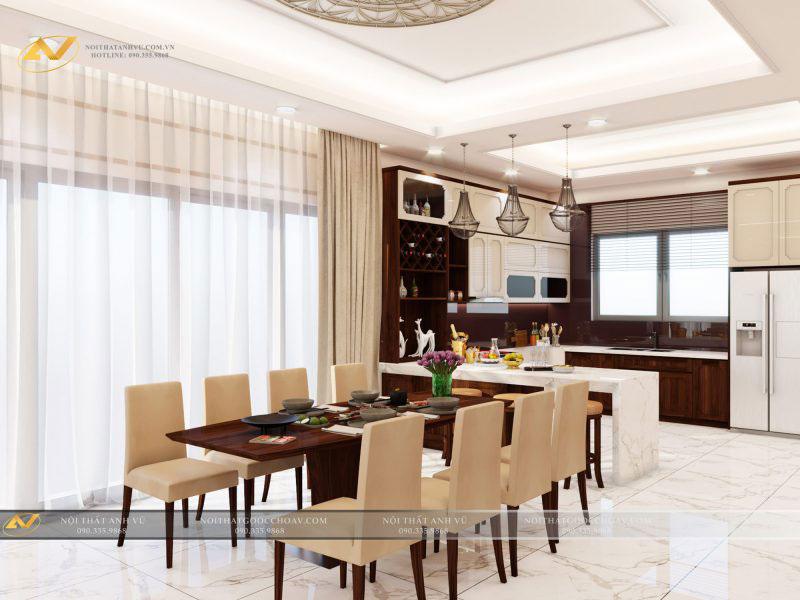 thiết kế nội thất phòng bếp đẹp tiện nghi mr Thạch Gamuda