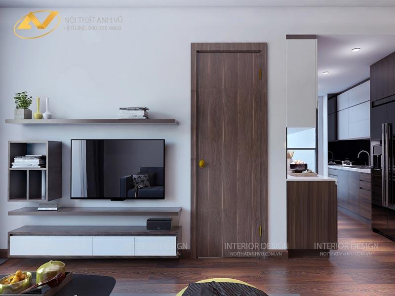 thiết kế nội thất phòng khách chung cư kệ tivi mr Đạt Kim Giang Hà Nội