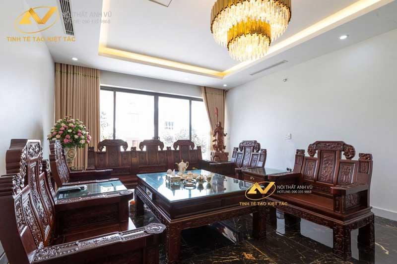 thiết kế nội thất phòng khách mang vẻ sang trọng kết hợp tân cổ điển