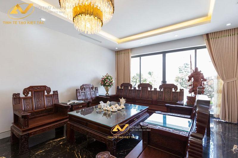 thiết kế nội thất phòng khách sang trong mr Long Từ Sơn Bắc Ninh