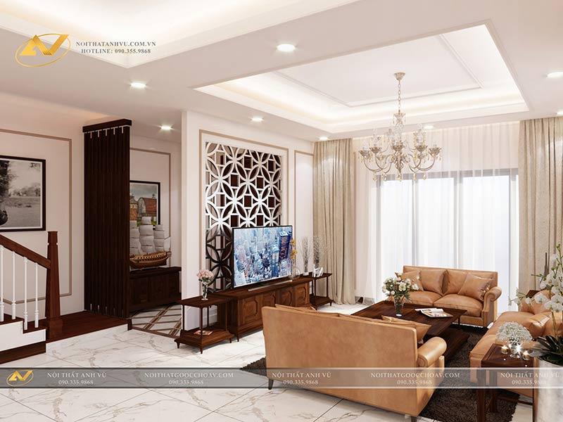 thiết kế nội thất phòng khách sang trọng mr Thạch Gamuda