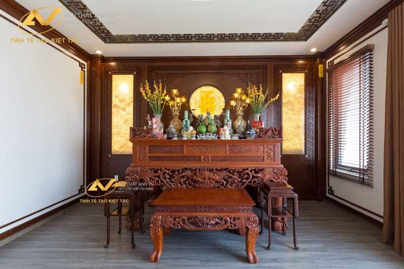 thiết kế nội thất phòng thờ đẹp uy nghiêm mr Long Từ Sơn Bắc Ninh