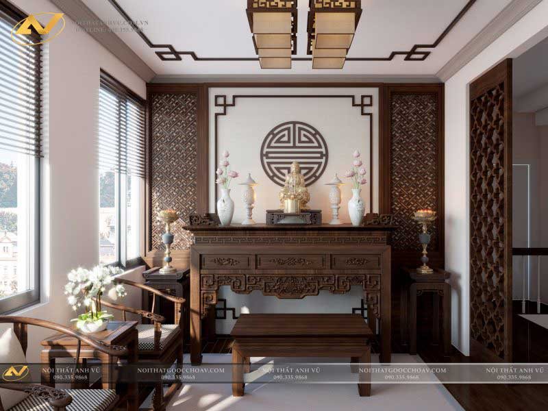thiết kế nội thất phòng thờ đẹp sang trọng mr Thạch Gamuda