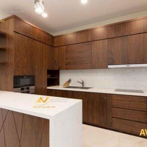 tủ bếp gỗ óc chó avtb001
