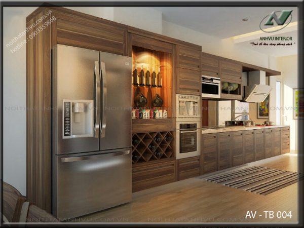 Tủ bếp gỗ óc chó đẹp đa năng AV-TB 004