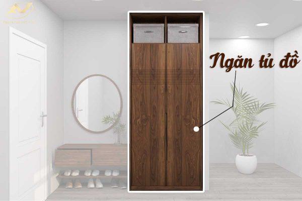 Tủ giày bằng gỗ óc chó đẹp 002 cao cấp - Nội thất Anh Vũ