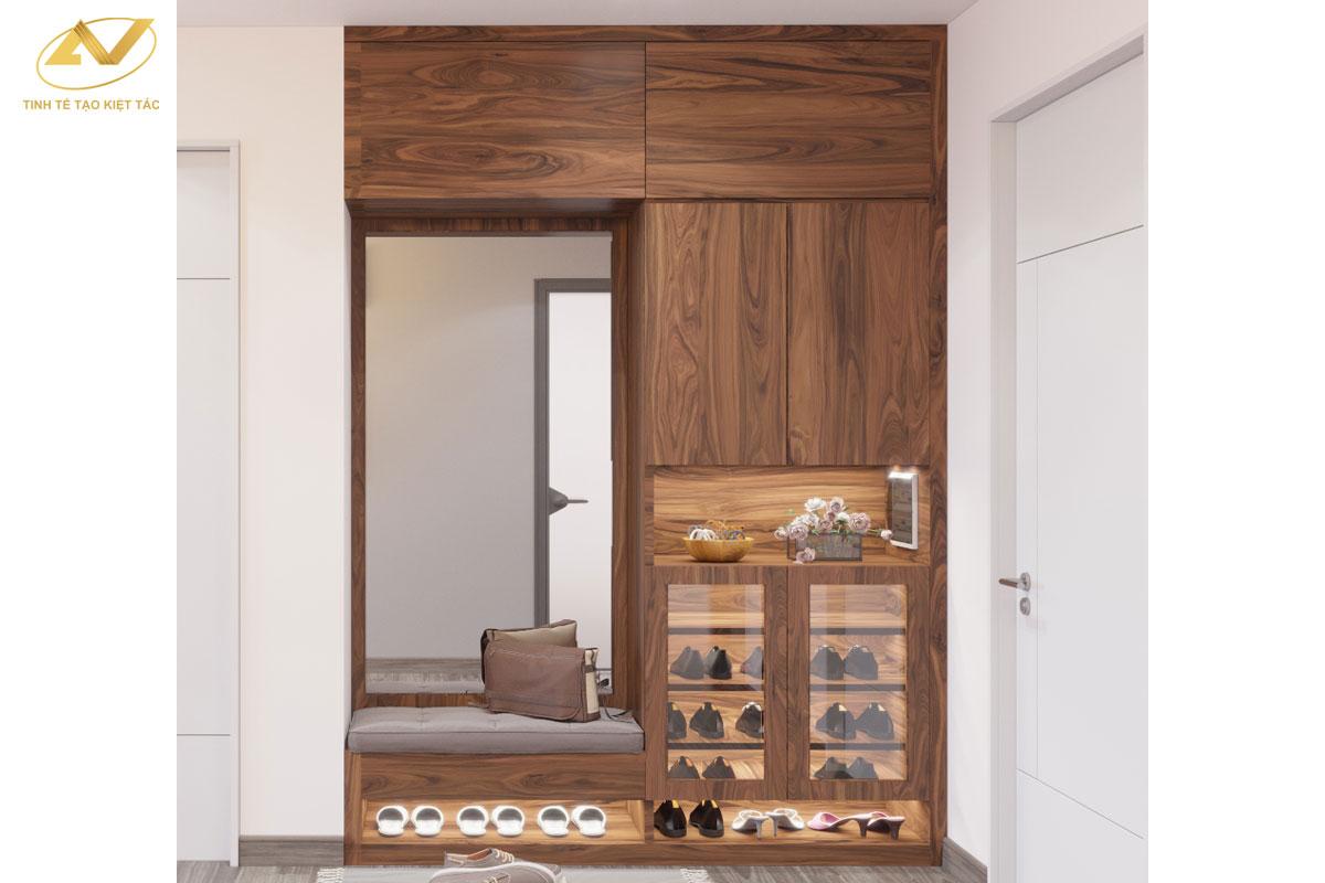 Tủ giày gỗ óc chó đẹp 004 - Nội thất Anh Vũ