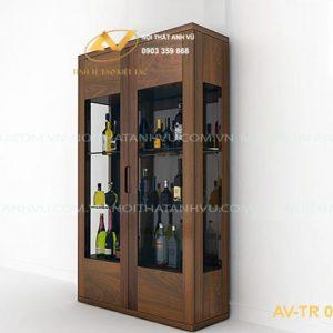 tủ rượu gỗ óc chó avtr003