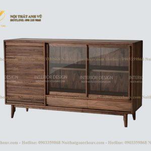 tủ trang trí gỗ óc chó avtt 008-1
