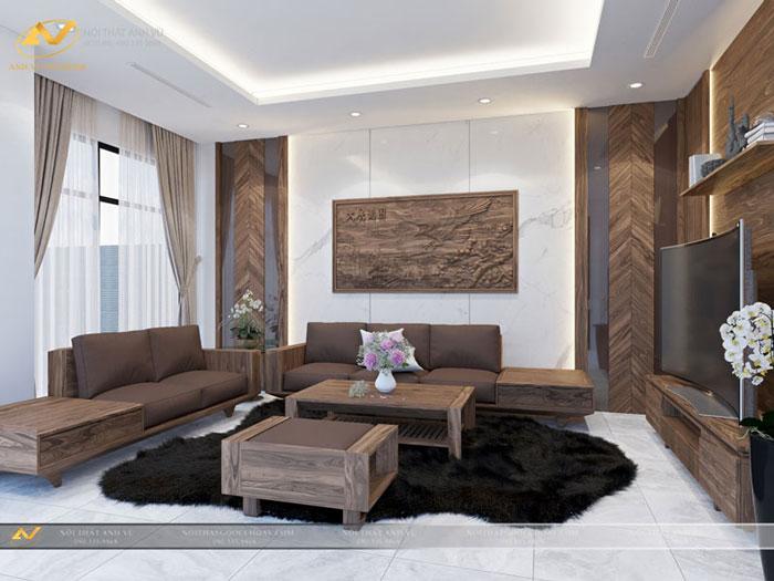 thiết kế nội thất gỗ óc chó quảng ninh 13