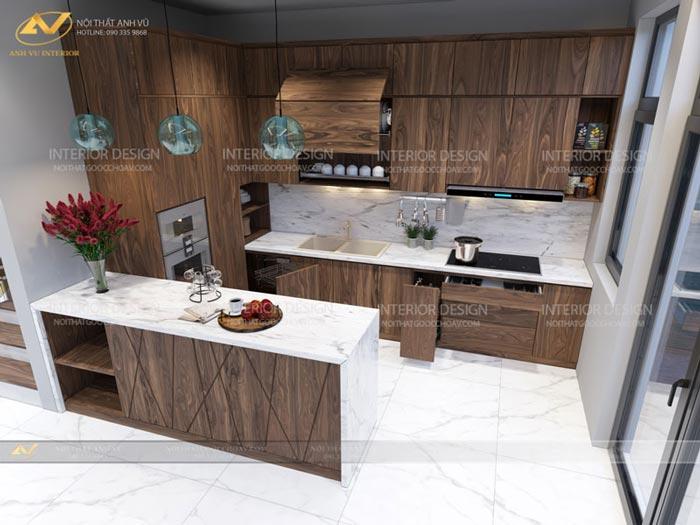 thiết kế nội thất gỗ óc chó quảng ninh 9