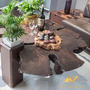 bàn trà đẹp gỗ óc chó kiểu dáng gôc cây 1