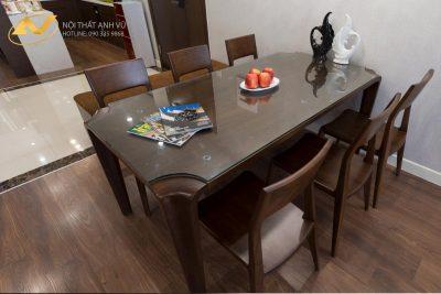 Bộ bàn ăn 6 ghế gỗ óc chó AV-BA 007 - Nội thất Anh Vũ
