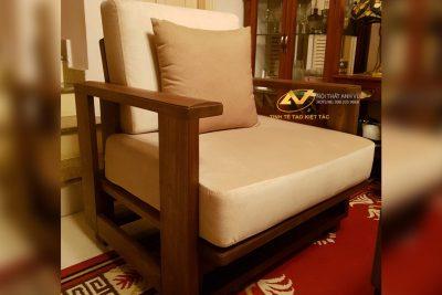 Mẫu ghế sofa gỗ óc chó đơn giản, hiện đại - Nội thất Anh Vũ