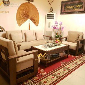 ghế sofa gỗ óc chó SFOC 020 có thiết kế hiện đại