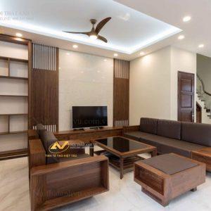 ghế sofa gỗ óc chó SFOC 021 có thiết kế đơn giản mà sang trọng