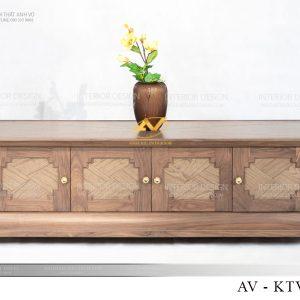 Kệ tivi gỗ óc chó AV-KTV 004 có phong cách đối xứng