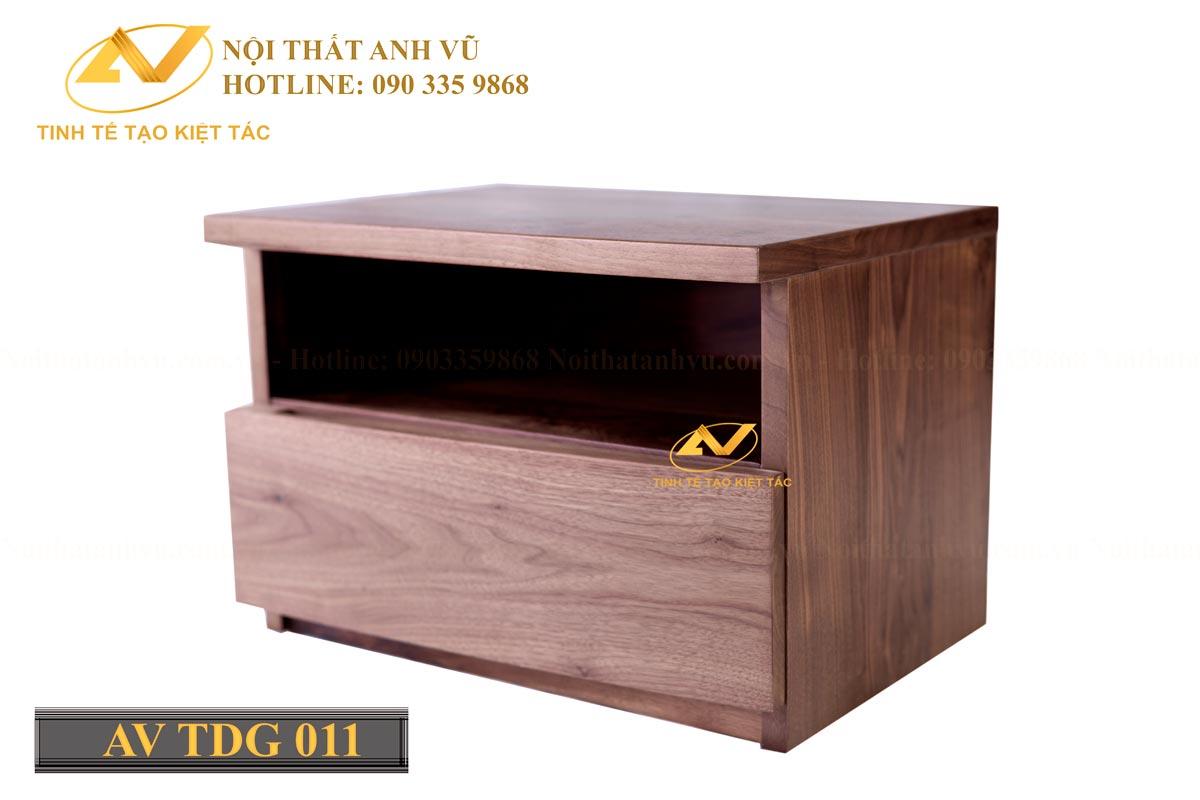 Tủ táp đầu giường gỗ óc chó AV-TĐG 011 - Nội thất Anh Vũ