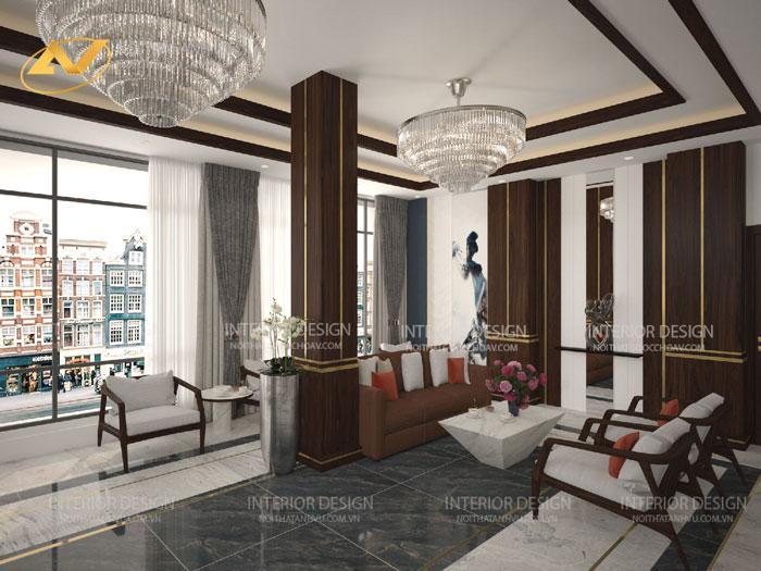 thiết kế nội thất gỗ óc chó khách sạn Thái Hòa